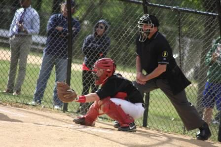 John Scandale ('16) behind the plate during a 13-11 win over Rutherford