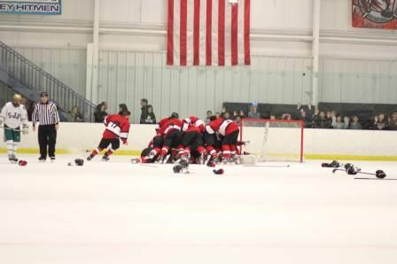 Panthers celebrate their 4-2 win over St. Joes to win the Big North Freedom Division title.