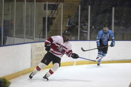 Jake Kinney skating in the first period of last weeks 5-1 win over Mahwah in the semi-finals. With three more points, he will surpass his older brother's record.