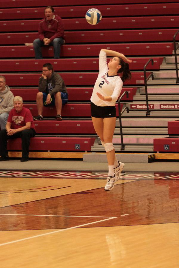 Meghan Donohue serves the ball at Lafayette College in Easton Pennsylvania.