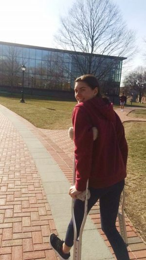 Donohue trying out her crutches at the Lafayette College campus.