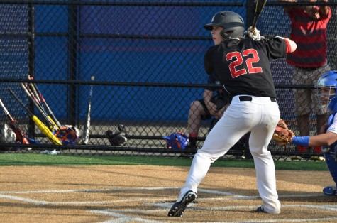 John Scandale hitting against Lodi last season, recently committed to play baseball at Kenyon College.