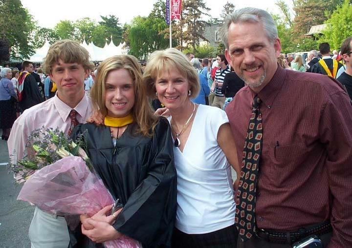 Kristin Mitchell with her brother, David, and her parents, Michele and Bill Mitchell at her college graduation, St. Joseph's University, May 14, 2005.
