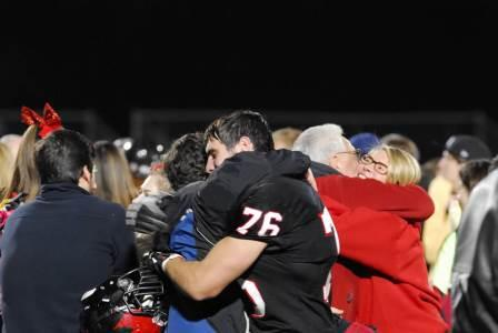 1.Jeremy celebrating with friends and family after their huge 35-34 semi-final win over Hawthorne.