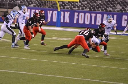 Jeremy making a tackle in the North 1 Group 2 State Championship against Mahwah