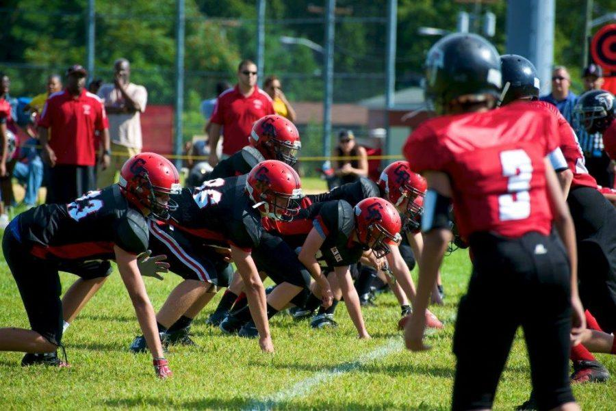 Michael Quinn, second from the left, sets in position on the line ready for the snap against Bergenfield in 2011.