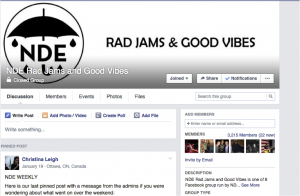 The top of the NDE Rad Jams & Good Vibes group page.