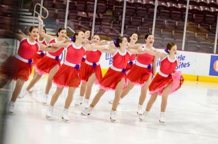Anna and the rest of her team, the Synchroettes, performing their routine at the 2016 Eastern Synchronized Skating Championship in Richmond, Virginia.