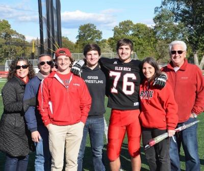 Jeremy and his family at senior day. From left to right Jen Cahn, uncle Bill Disenso, brother Jared Lipsky, brother Justin Lipsky, Jeremy Lipsky, mother Danielle Lipsky and father David Lipsky.