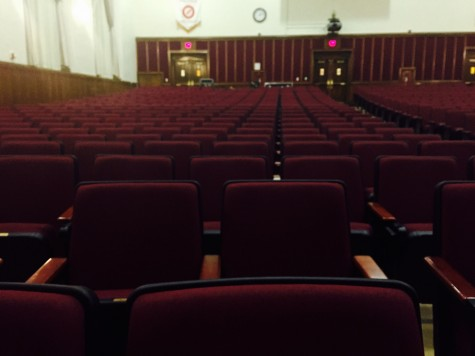 The auditorium seats will remain empty until they are filled with countless people cheering on GRHS teachers and staff.