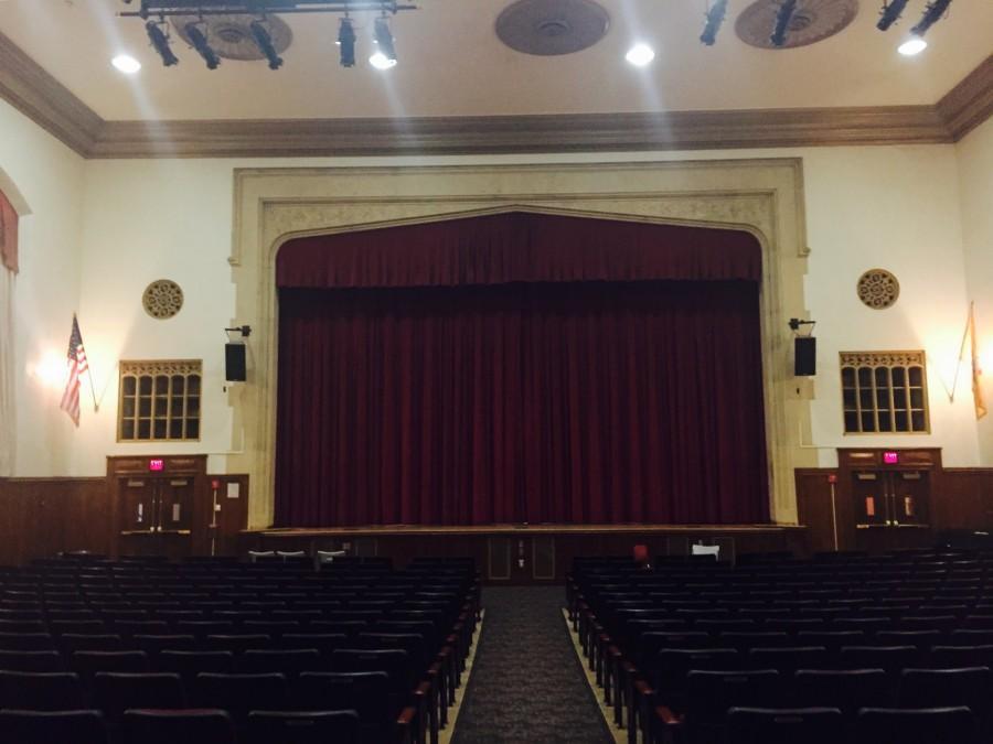 ClassicredvelvetcurtainscoveringHS2FMSstage Curtains close on Teacher Talent Show