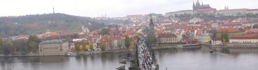 A view captured from a tower on the Prague Castle overlooking the city