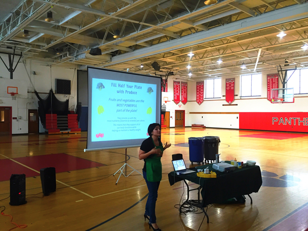 Physical Education students were encouraged to try a healthy salsa after attending a powerpoint presentation.