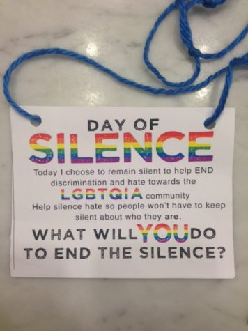 Students who took the vow of silence were given lanyards to wear and show their support. The design of the lanyard has been updated from years past.