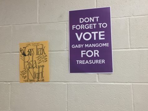 Posters hung up around the school to promote the candidates