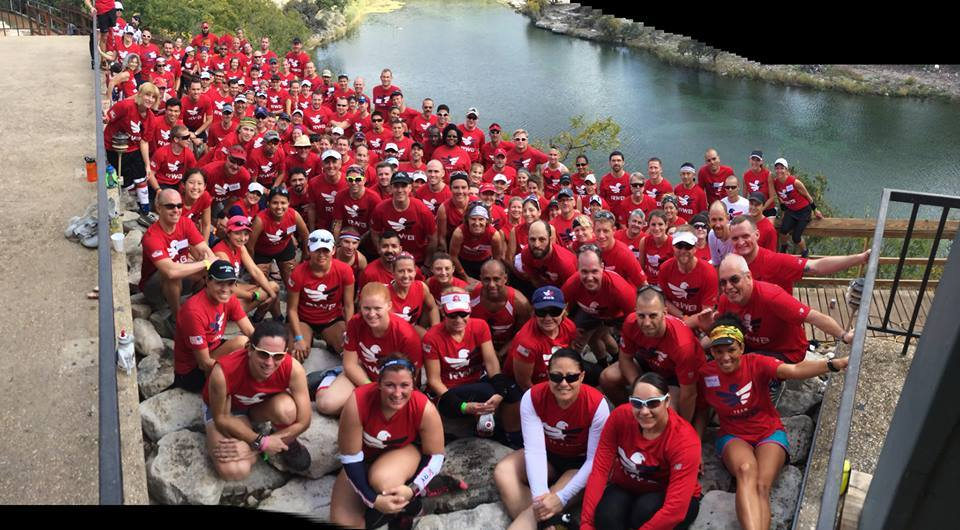 Team Red, White & Blue is pictured at the first ever Trail Running Camp in Texas. Member from around the country participate in the camp and learn about nutrition, physical therapy, leadership, and how to deal with veteran problems (Photo Credit: Jonathan Algor)
