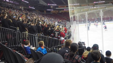 Glen Rock High School students cheering on the players. The enthusiasm would begin to die down by the middle of the 2nd period.
