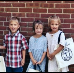 Riley, Mary Kate, and Bridget Horton on their first day of third grade at Academy of Our Lady. The triplets attended this school up until eighth grade