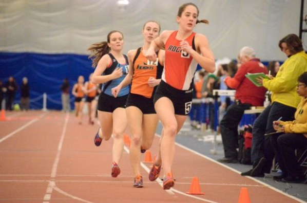 Burgoyne is ahead in the two mile during a winter track meet at the Bennett Center in Toms River, NJ.