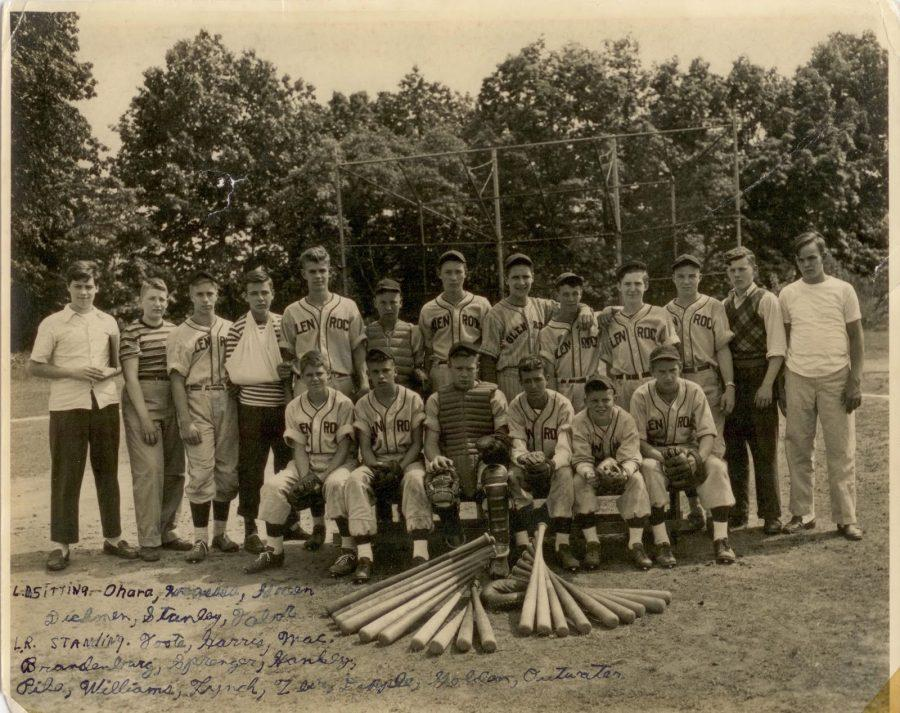 Glen Rock baseball team of 1944. Bob Zier pictured standing, fourth from the right. Years after this photo was taken, Bob Zier went back and wrote in all of the names of the names of the players in the lower lefthand corner.