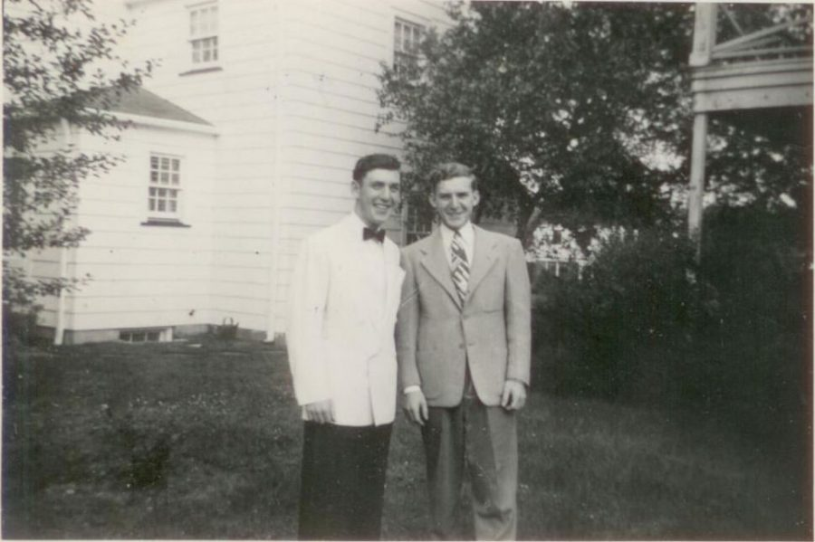 Ron (left) and Bob (right) in their backyard on Waldron Avenue in June of 1948 on Ron's graduation day from Ridgewood High School.