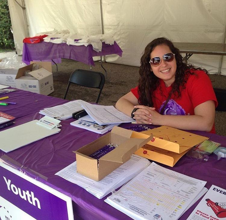 Ms., Amanda Sproviero at the registration table at this year's Relay for Life