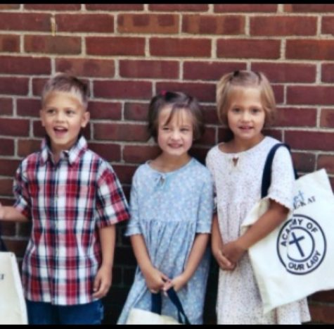 Riley, Mary Kate, and Bridget Horton on their first day of third grade at Academy of Our Lady. The triplets attended this school up until eighth grade.
