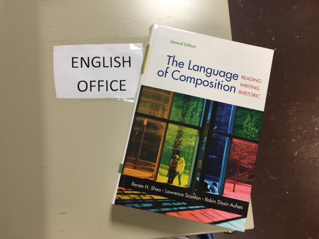 The Language of Composition textbook in the English Office.