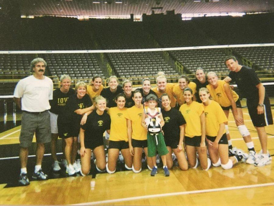 The girls' volleyball team also invited Weiss and his mom to watch their practices.
