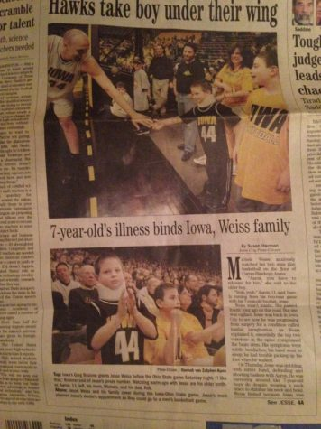 An article published during Jesse's first stay in Iowa about his bond with the Iowa University sports teams.