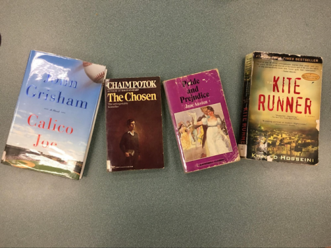 These are sample summer reading books from various grades. Calico Joe, by John Grisham is for incoming 9th graders, The Chosen, by Chaim Potok for the incoming 10th graders, Pride and Prejudice, by Jane Austen for the incoming 11th graders , and The Kite Runner, by Khaled Hosseini for incoming 12th graders.