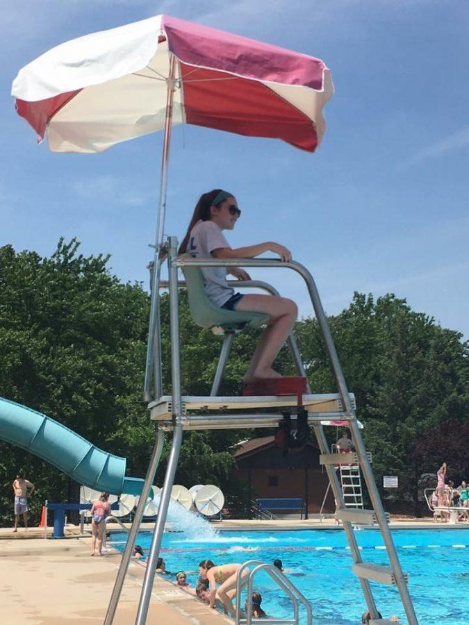 Sydney Carr watches over The Glen Rock Municipal Pool in early June of this year.
