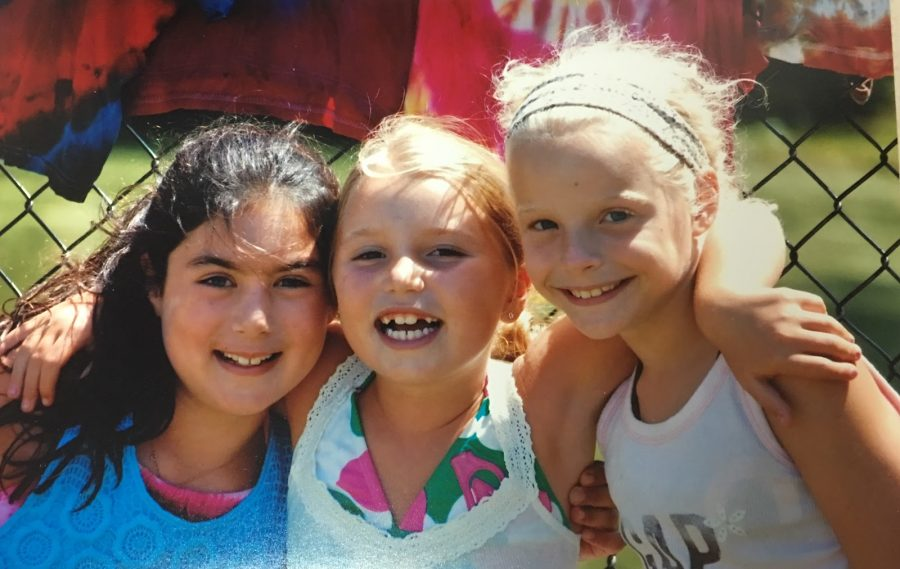 Kate Gifford, on the right, poses for a picture with cousin Sara Gifford and friend Samantha Goldman in the summer of 2009 on tie-dye day at camp Wydaca.