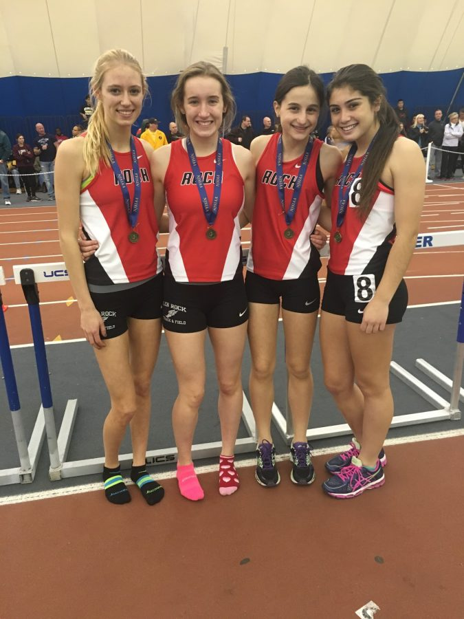 Hannah Vanderwall, Alethea Jadick, Selma Sose, Julia Kelly. After winning State Group relays by a full second, the girls pose with their medals.