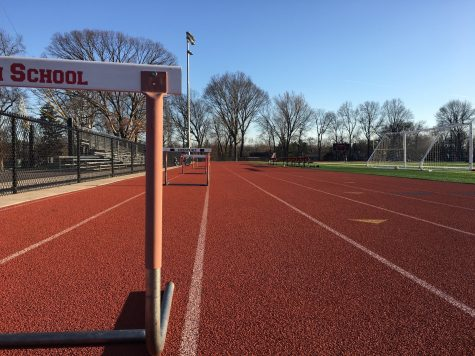 The hurdles are always close at hand on the track for when the athletes of Glen Rock High School begin practice.