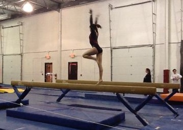 Struble practicing on the high beam.
