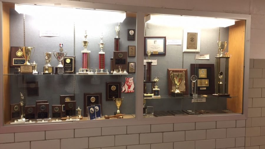 Trophy case near the cafeteria.