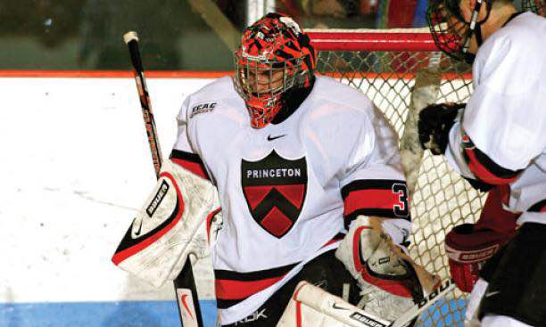 Zane Kalemba playing for his college hockey team.