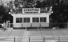 The press box at the Glen Rock High School stadium field named after Alan Deaett, a loved football coach.