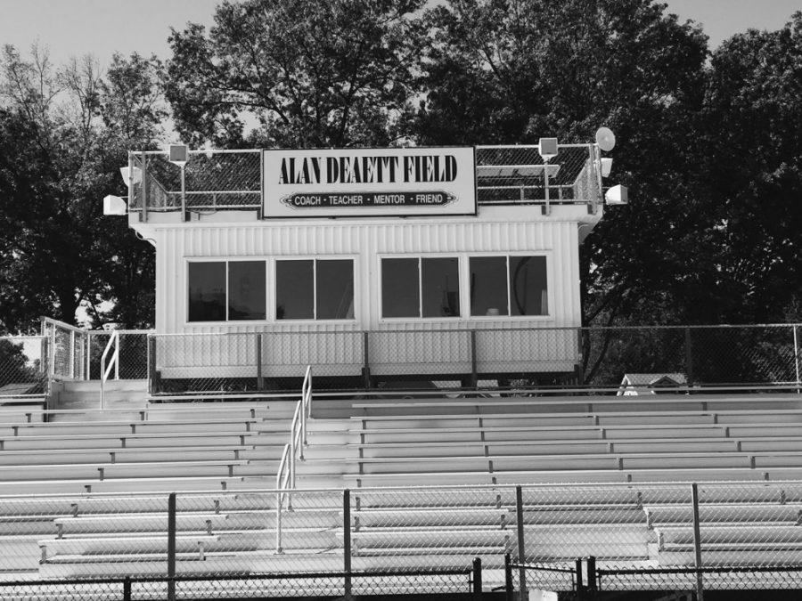 The+press+box+at+the+Glen+Rock+High+School+stadium+field+named+after+Alan+Deaett%2C+a+loved+football+coach.+