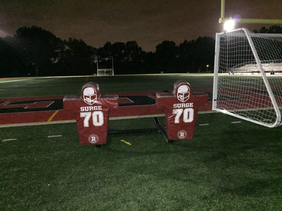 Waiting for a break from the tough practices, the Glen Rock  football players leave the equipment untouched until bye week passes, to practice on again.