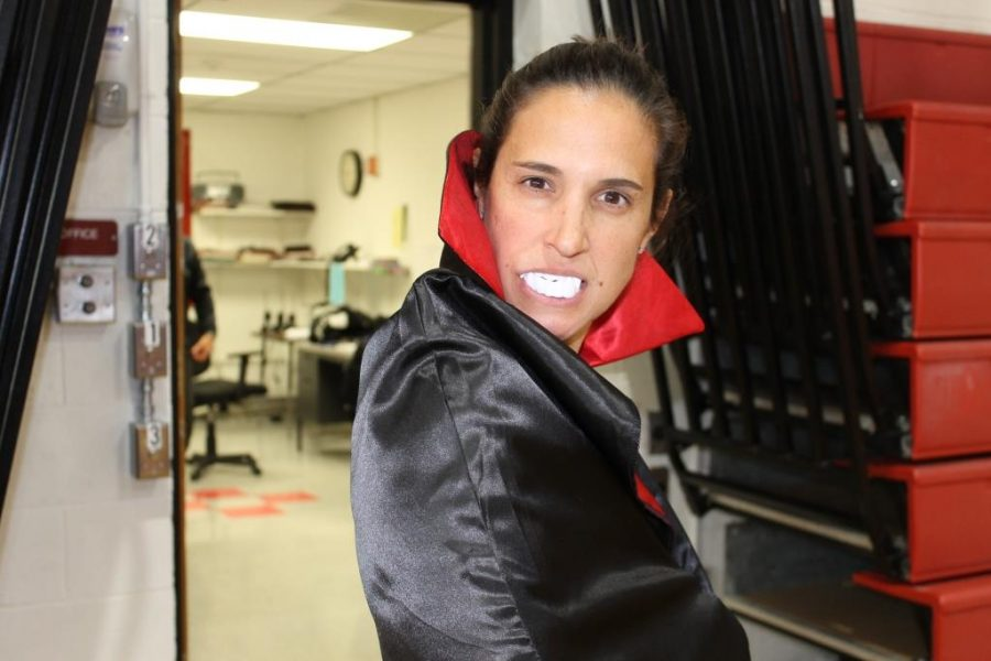 Mrs. Kelly Dowell, a gym teacher, was dressed as a vampire.