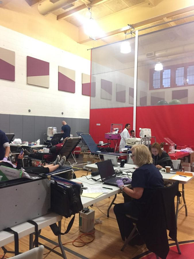 Volunteers working hard at the blood drive.