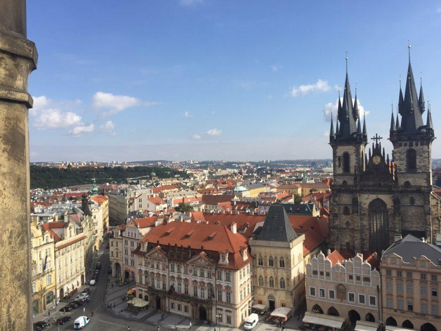 The view of Prague, Czech Republic from the top of the Prague Astronomical Clock.