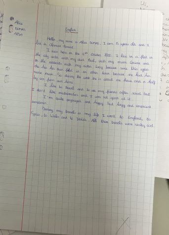 Students write a letter in their fluent language, and then another in the language they are learning. Students who are not French students at Glen Rock are not required to write letters in French.