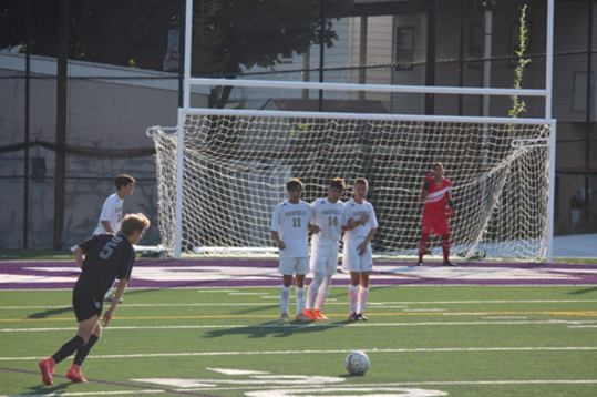 Justin Kochman takes a free kick against Garfield on September 16. Glen Rock went on to win the game 2-1, with Kochman providing an assist.
