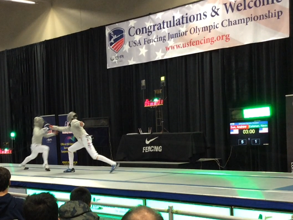 Fencing at the USA Fencing Junior Olympic Championship, junior Kevin Callahan competes against his opponent in hopes of a victory. Photo Credit: Donald Callahan