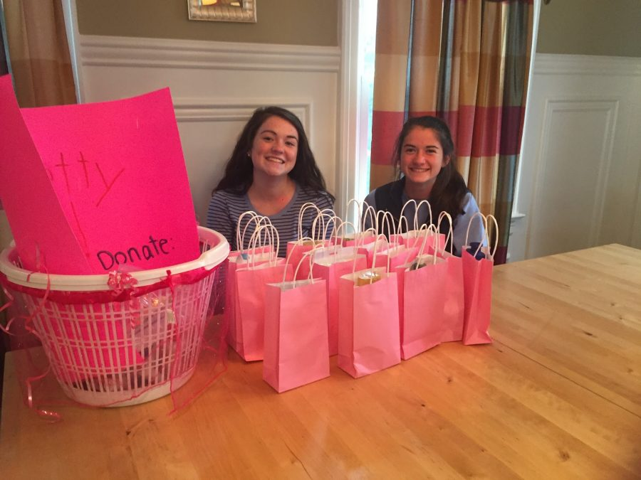 Sisters, Julia and Tess with filled care packages for cancer patients going through treatment at St. Joseph's Hospital in Paterson NJ.