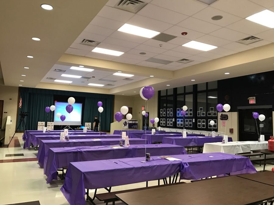 Awaiting the arrival of those who would attend Relay For Life kick off event, captains of the GRHS Team set up and decorated the high school cafeteria