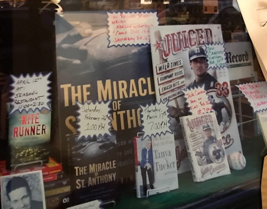The+largest%2C+most+eye-catching+display+in+the+front+window+at+Bookends+in+Ridgewood%2C+is+Adrian+Wojnarowski%E2%80%99s+The+Miracle+of+St.+Anthony.+The+book+signing+was+held+February+26th%2C+2005%2C+shortly+after+the+book+was+published.